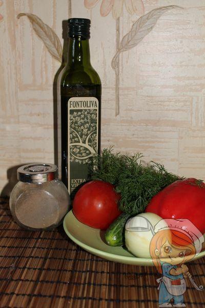 Ингредиенты салата без мяса из свежих овощей