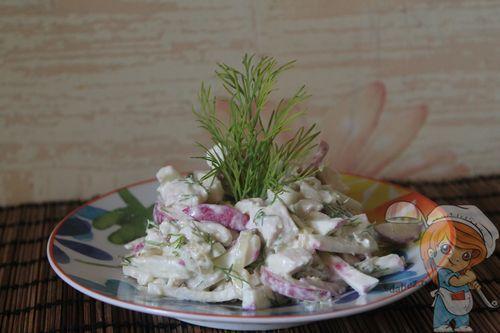 Салат с редисом и курицей