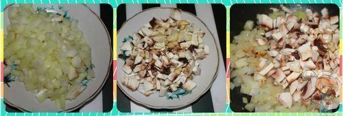 Шинкуем лук, нарезаем грибы