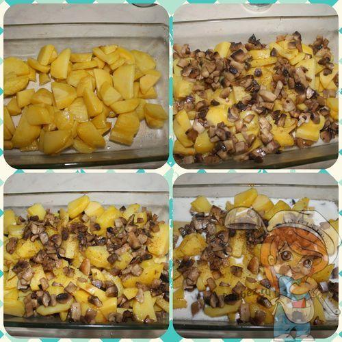Выкладываем картошку и грибы на противень
