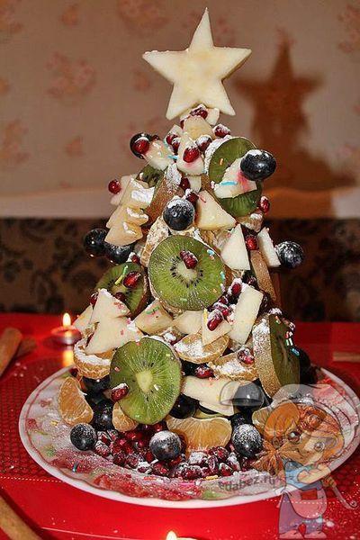Фруктовая елочка на праздничный новогодний стол