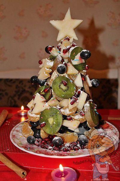 Фруктовая елочка со звездой на новый год