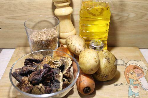 Ингредиенты для супа с грибами без мяса