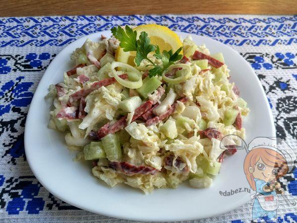 Постный салат из пекинки