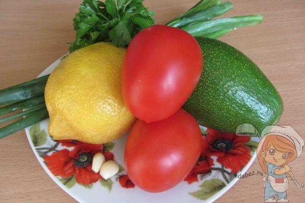 ингредиенты для салата с авокадо