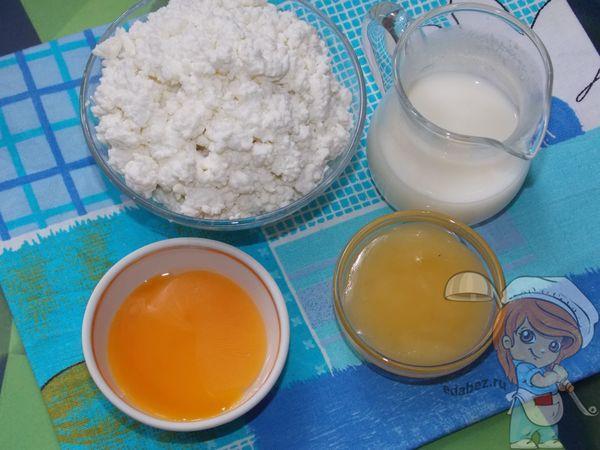 творог, мед, желток, молоко