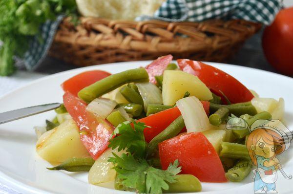 простой вкусный салат со стручковой фасолью
