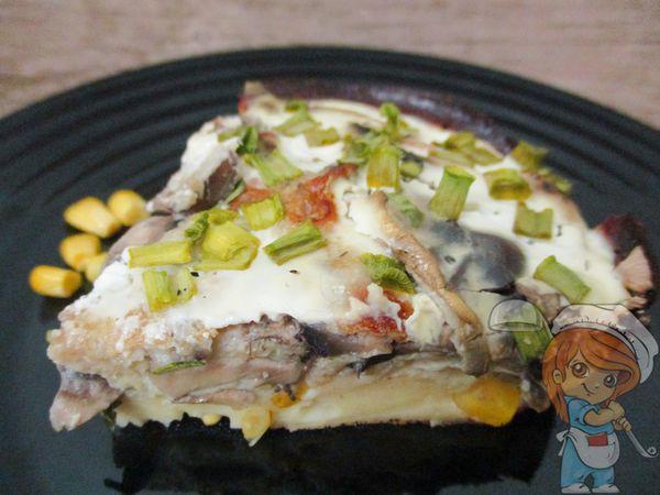 пирог с грибами на овсяной муке
