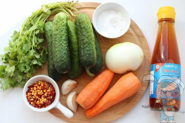 Ингредиенты для огурцов по-корейски