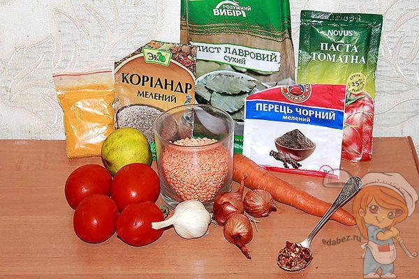 Ингредиенты для чечевичного супа