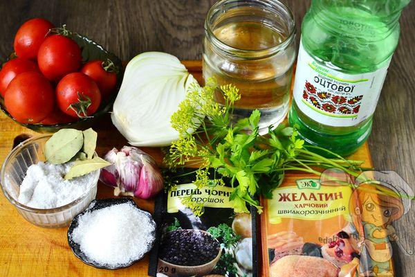 Ингредиенты для томатов в желе