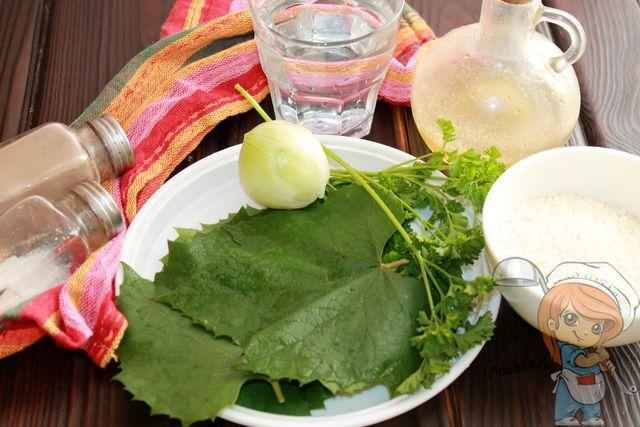 Продукты для долмы в виноградных листьях