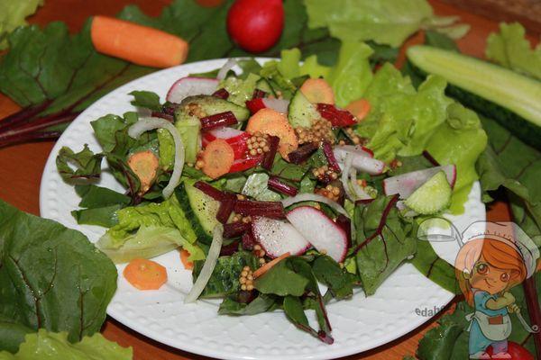 Летний салат из овощей с листьями свеклы