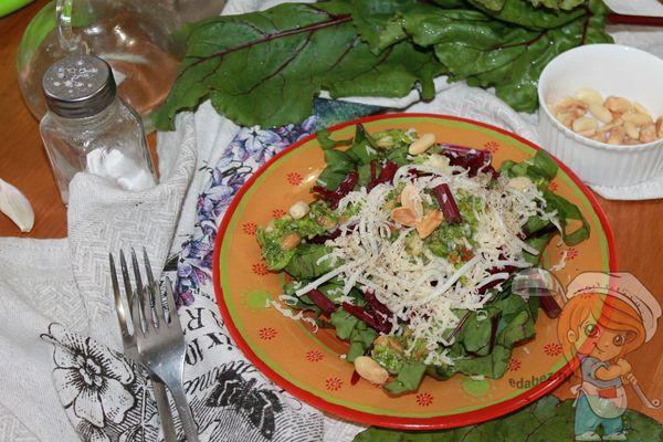 Салат со свекольной ботвой