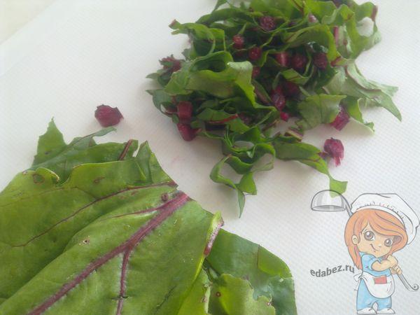 свекольные листья ленточками