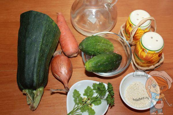 Ингредиенты для салата из кабачка