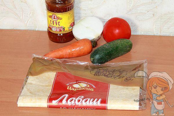 Ингредиенты для приготовления овощной шаурмы