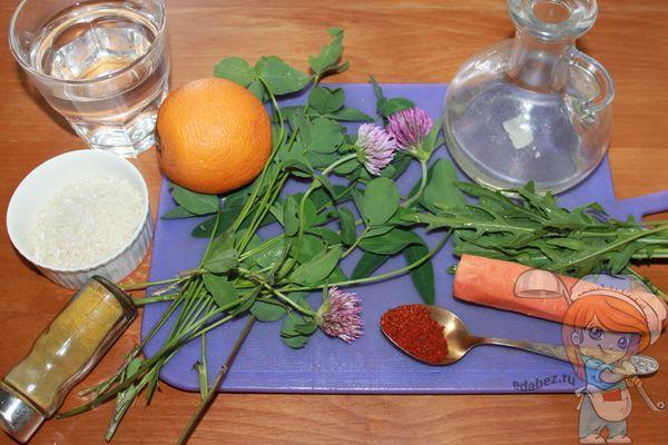продукты для салата из клевера и апельсина