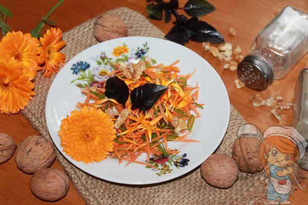 Салат с грецкими орехами и морковью