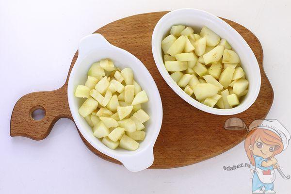 Слой яблок в посуде