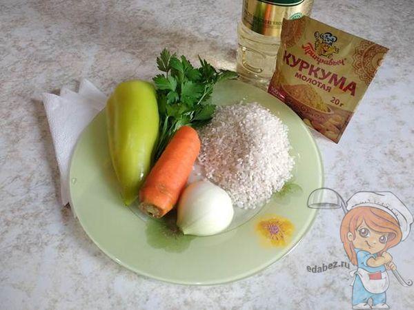 Продукты для риса с овощами