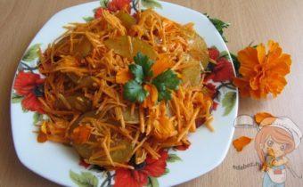 легкий салат из моркови и бархатцев