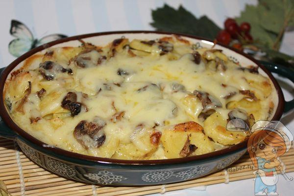 картофель с грибами и сыром