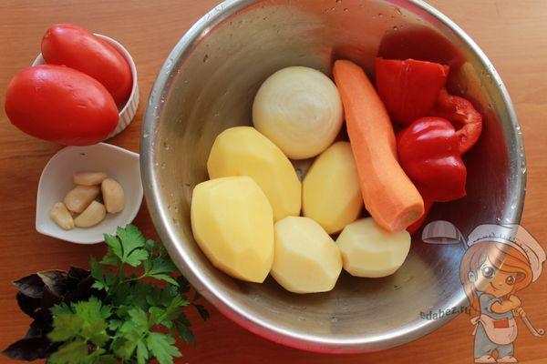 моем и чистим овощи для супа