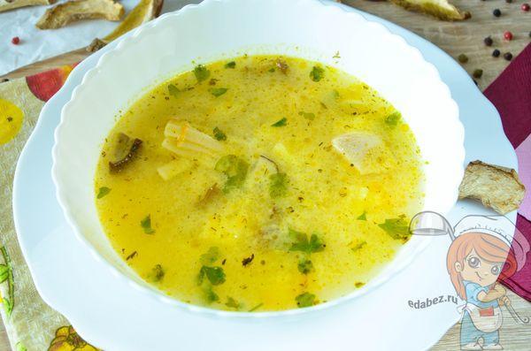 Сливочный суп с грибами и плавленным сыром