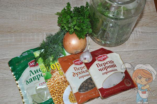 ингредиенты для консервации овощей