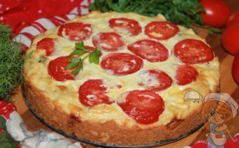 Заливной пирог с помидорами