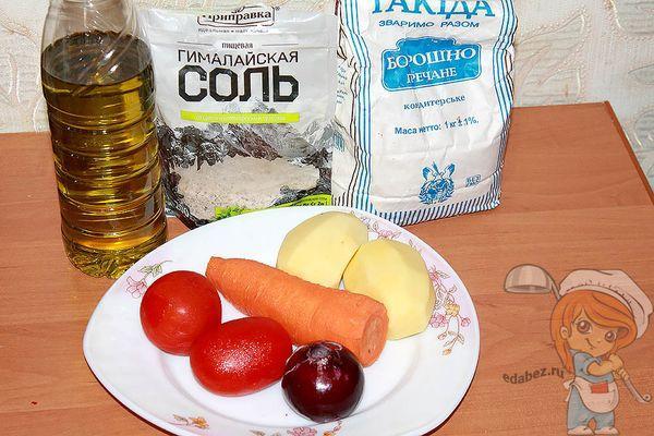 Ингредиенты для супа с гречневыми клецками