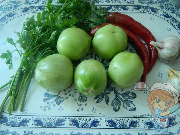 Продукты для фарширования зеленых помидоров