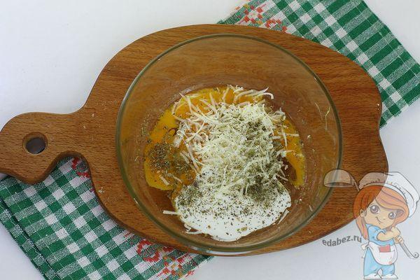 Яйцо, сметана и сыр для заливки