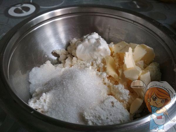 сахар, творог, масло
