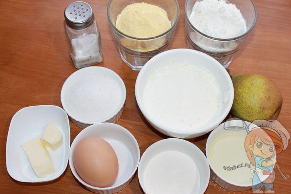 Ингредиенты для грушевого пирога с кукурузной мукой