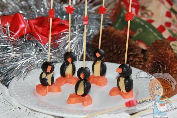канапе пингвины рецепт с фото