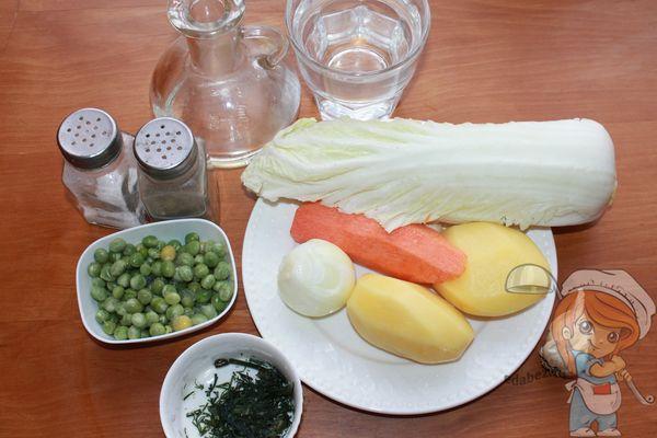 Продукты для супа с пекинской капустой