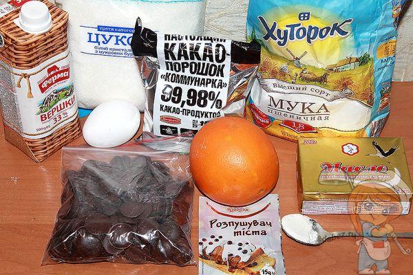 продукты для апельсинового брауни