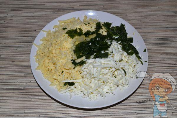 соединяем сыр, белок и зелень