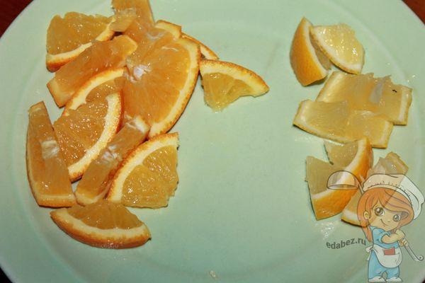 нарезаем апельсин и лимон