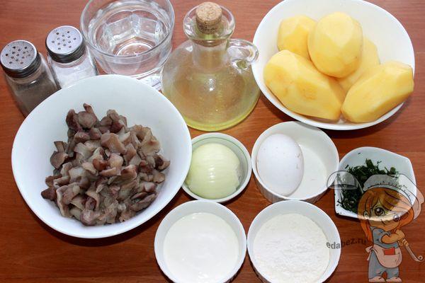 продукты для оладий и грибного соуса