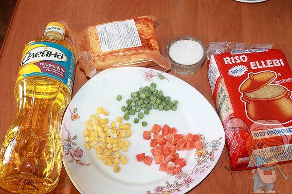 Продукты для приготовления вегетарианского риса