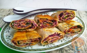 Закуска лаваш с овощами - рецепт с фото