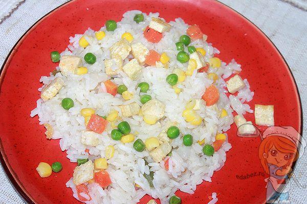 вегетарианский рецепт с рисом и тофу