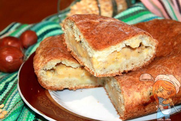 пирог с горохом и чесноком