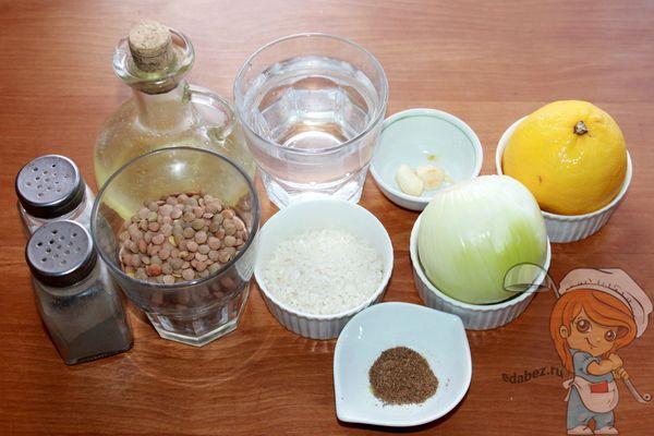 Продукты для супа с чечевицей и лимоном