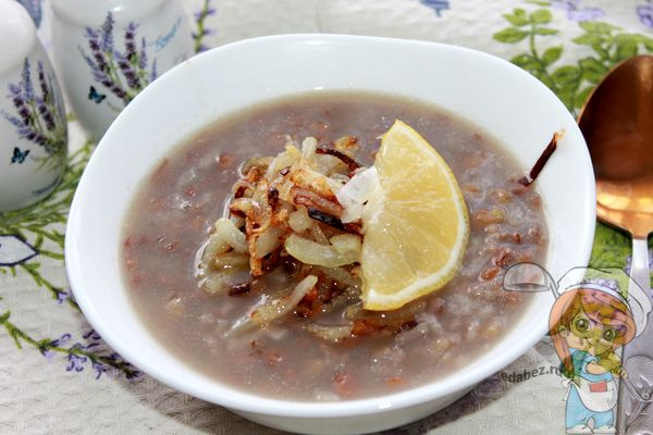 ливанский суп с чечевицей и лимоном