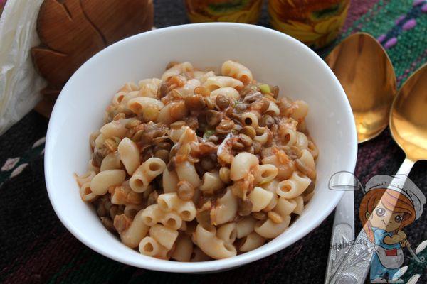 макароны с чечевицей в томатной пасте - рецепт с фото