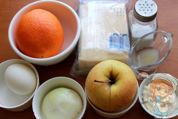 Продукты для салата с сыром и яблоком